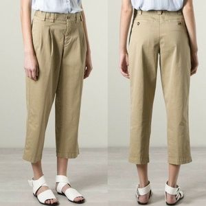 RED VALENTINO Khaki Cropped Pleated Trouser Pants